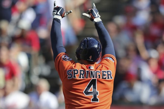 Houston Astros center fielder George Springer celebrates after hitting a solo home run against the Cleveland Indians during the fifth inning of Game 3 of the 2018 American League Divisional Series on Monday at Progressive Field in Cleveland. Photo by Aaron Josefczyk/UPI
