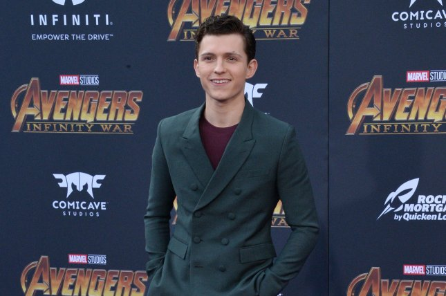 Spider-Man star Tom Holland displayed the new Spider-Man: Far From Home suit he will wear in the film during an appearance on Jimmy Kimmel Live. File Photo by Jim Ruymen/UPI.
