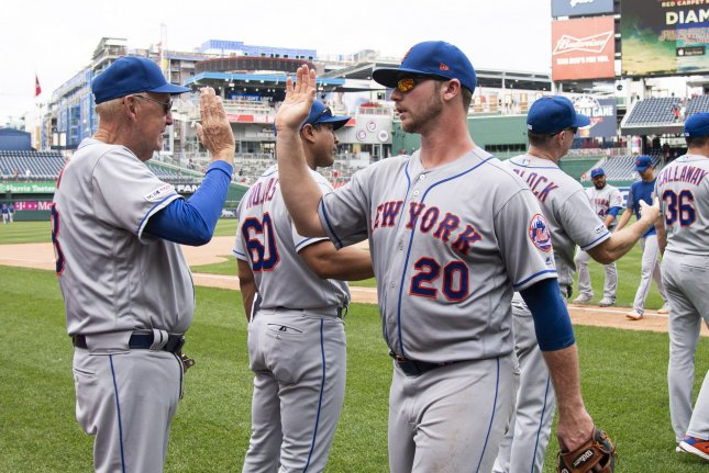 New York Mets first baseman Pete Alonso (20) went 1-for-5 with an RBI and a run scored in a win against the Washington Nationals Wednesday in Washington, D.C.Photo by Kevin Dietsch/UPI