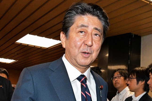 Japan's Prime Minister Shinzo Abe is being accused of using a publicly funded event in July as a platform for his election campaign. File Photo by Keizo Mori/UPI