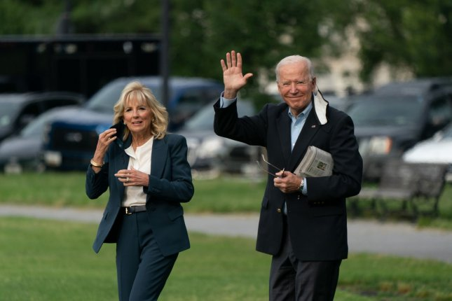 First lady Jill Biden (L) and President Joe Biden depart from the White House on Wednesday from the Ellipse in Washington, D.C. Biden will be in Europe for a week. Photo by Chris Kleponis/UPI