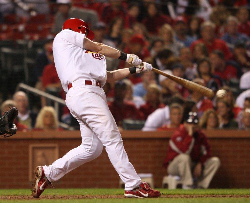 Adam Kennedy, shown hitting a single in a game Sept. 5, 2008. (UPI Photo/Bill Greenblatt)