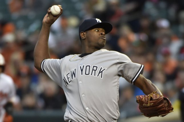 New York Yankees starting pitcher Luis Severino delivers. File photo by David Tulis/UPI