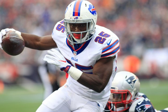 Buffalo Bills running back LeSean McCoy (25) charges into the end zone on a seven-yard touchdown in the first quarter against the New England Patriots at Gillette Stadium in Foxborough, Massachusetts on October 2, 2016. File photo by Matthew Healey/UPI
