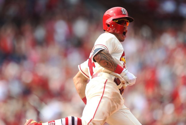 St. Louis Cardinals second baseman Kolton Wong (above) teamed up with Harrison Bader to smack back-to-back homers against the Milwaukee Brewers on opening day Thursday, but the Brewers fought back to take the lead in the third inning. File Photo by Bill Greenblatt/UPI