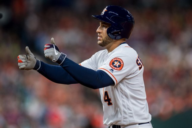 Houston Astros outfielder George Springer is hitting .297 and has 30 home runs this season. File Photo by Trask Smith/UPI
