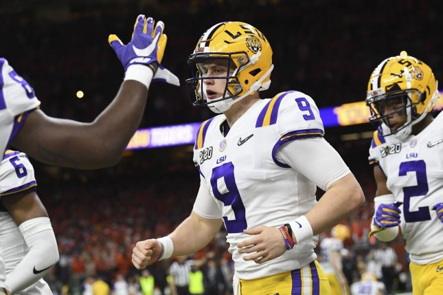 Alabama coach Nick Saban praised former LSU quarterback Joe Burrow (9) for his ability to read defenses and accuracy. File Photo by Pat Benic/UPI