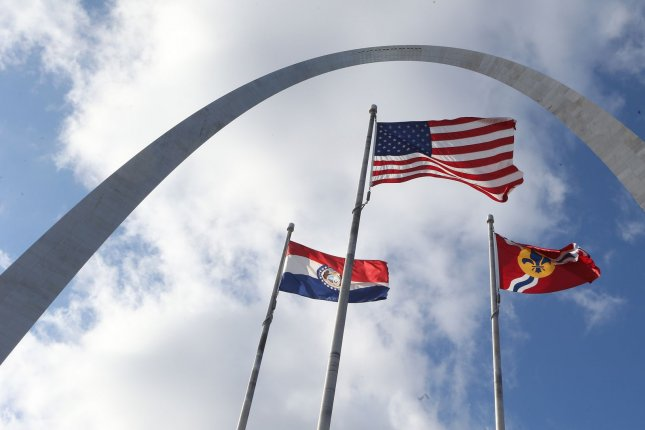 The flags on the riverfront near the Gateway Arch, flap in the breeze as speeds begin to slow in the afternoon, in St. Louis on Wednesday, November 27, 2019. This September,a November-like air mass in the Midwest will produce gusty winds, spotty showers and perhaps even some snowflakes. File Photo by Bill Greenblatt/UPI