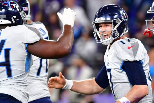 Ryan Tannehill (17) and the Tennessee Titans were scheduled to face the Pittsburgh Steelers at 1 p.m. EDT on Sunday, but the NFL postponed the game after four Titans players tested positive for COVID-19. File Photo by David Tulis/UPI