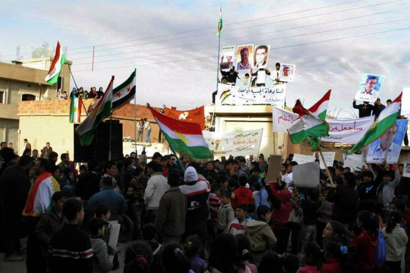 Demonstrators protest against the regime of Syrian President Bashar al-Assad in Al-drbaseh, Northern Syria, on February 14, 2012. UPI Photo/File