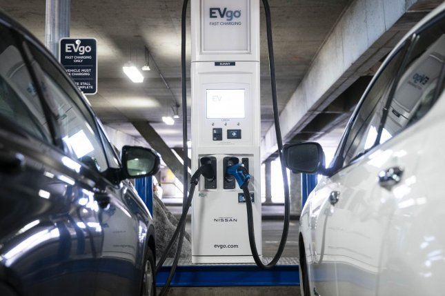 New EVGo electric vehicle charging stations are seen at Union Station in Washington, D.C., on April 22 ahead of an appearance by Transportation Secretary Pete Buttigieg to mark Earth Day and President Joe Biden's American Jobs Plan. Photo by Sarah Silbiger/UPI