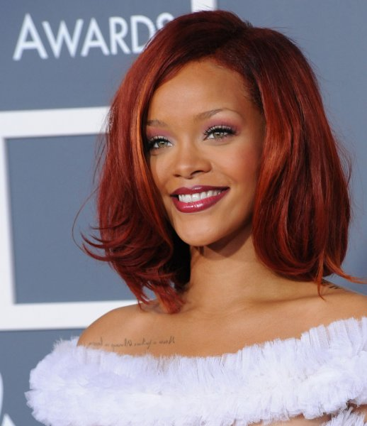 Rihanna arrives at the 53rd Grammy Awards at Staples Center in Los Angeles on February 13, 2011. UPI/Jim Ruymen