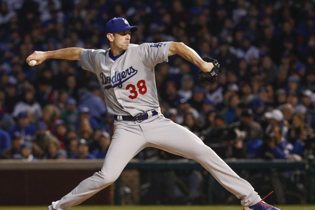Los Angeles Dodgers starting pitcher Brandon McCarthy pitches against the Chicago Cubs during the first inning of a baseball game at Wrigley Field on April 12, 2017 in Chicago. File photo by Kamil Krzaczynski/UPI
