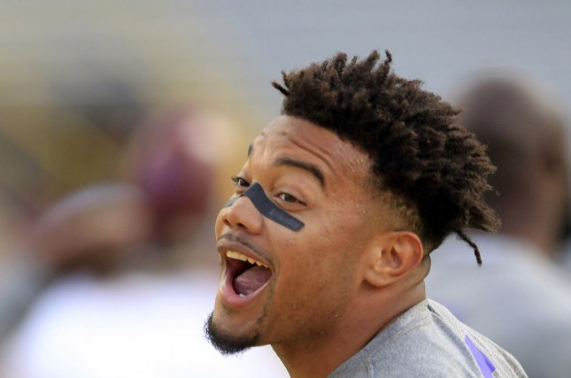 Former LSU Tigers running back Derrius Guice (5). File photo by AJ Sisco/UPI