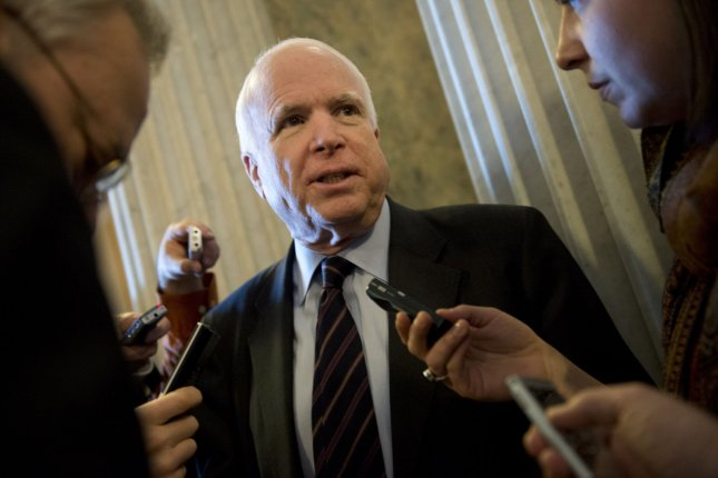 Sen. John McCain, R-Ariz., said he considered himself the luckiest man on earth in a farewell statement issued two days after his death. File Photo by Kevin Dietsch/UPI