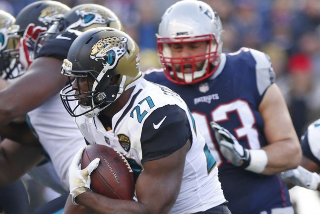 Jacksonville Jaguars running back Leonard Fournette looks for running room during the AFC playoffs vs. the New England Patriots last season. Photo by Matthew Healey/ UPI