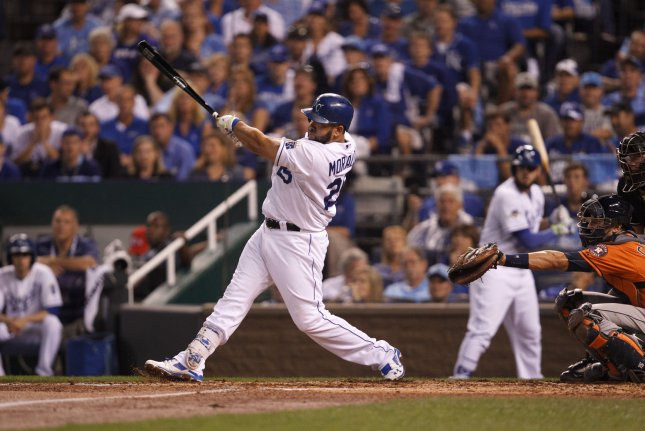 Former Kansas City Royals designated hitter Kendrys Morales won a World Series title with the Royals in 2015. File Photo by Jeff Moffett/UPI