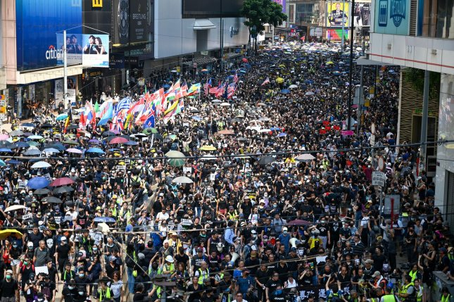 A massive crowd of protesters turned out for an anti-government rally in Hong Kong on October 1, 2019. Photo by Thomas Maresca/UPI