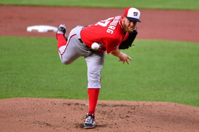 The Washington Nationals placed starting pitcher Stephen Strasburg on the injured list Aug. 15 after he threw only 16 pitches in his last start against the Baltimore Orioles. File Photo by David Tulis/UPI