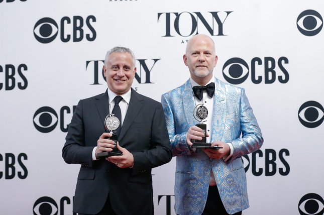 David Stone (L) and Ryan Murphy arrive in the press room at the 73rd Annual Tony Awards in 2019 in New York City. The 74th edition of the ceremony is expected to take place when Broadway reopens. File Photo by John Angelillo/UPI