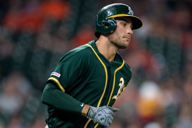 Oakland Athletics infielder Matt Olson hit two home runs in a win over the Minnesota Twins on Wednesday in Oakland, Calif. File Photo by Trask Smith/UPI