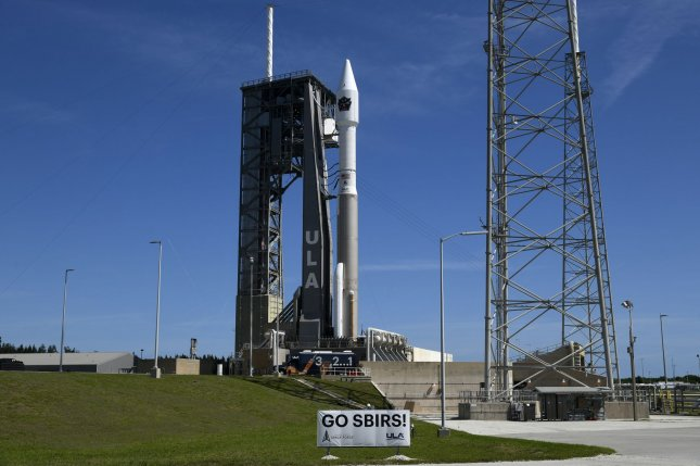 A United Launch Alliance Atlas V rocket is prepared to launch the fifth Space Based Infrared System Geosynchronous Satellite (SBIRS GEO) for the U.S. Space Force at Cape Canaveral Space Force Station on Tuesday. Photo by Joe Marino/UPI