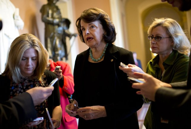 Sen. Dianne Feinstein (D-CA) speaks to the media after a caucus meeting on Capitol Hill in Washington on November 14, 2012. UPI/Kevin Dietsch