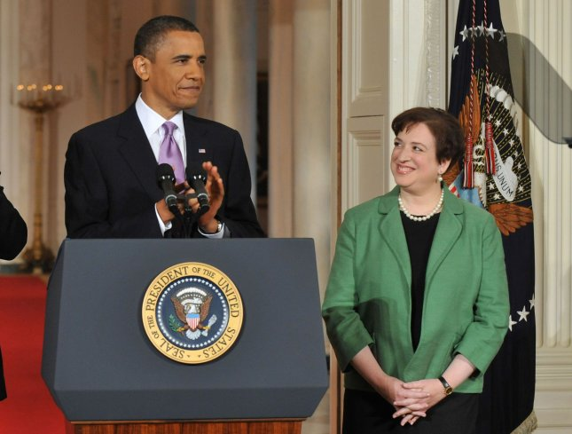 President Barack Obama applauds as he introduces Solicitor General Elena Kagan as his Supreme Court Justice nominee May 10, 2010. UPI/Kevin Dietsch