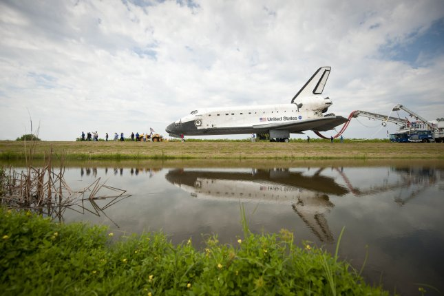 The space shuttle Atlantis, which had logged 126 million miles on 33 missions since 1985, is pictured at Cape Canaveral , Fla., July 21, 2011, after its final flight. UPI/Bill Ingalls/NASA