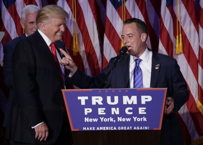 Reince Priebus (R) chairman of the Republican National Committee, speaks at President-elect Donald Trump's post-campaign rally on November 8 in New York City. Priebus was named White House chief of staff, with campaign strategist Steve Bannon named senior counselor. Photo by John Angelillo/UPI