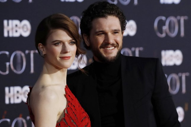 Kit Harington (R) said on Late Night that he pulled an April Fools' Day prank on his wife Rose Leslie. Photo by John Angelillo/UPI