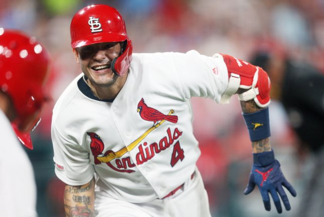 Veteran catcher Yadier Molina was one of three players to homer in the St. Louis Cardinals' series-opening win against the Philadelphia Phillies on Monday in St. Louis.  Photo by Bill Greenblatt/UPI