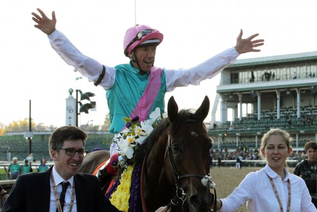 Jockey Frankie Dettori was aboard Star Catcher, who won the  Kerrygold Irish Oaks on Saturday at the Curragh in Ireland and Sunday aboard A'ali, who won the Darley Prix Robert Papin for 2-year-olds at Deauville in France. File Photo by John Sommers II/UPI