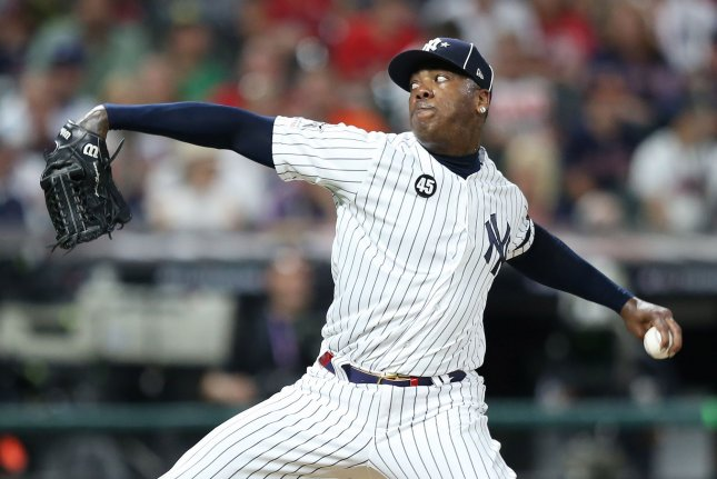 New York Yankees closer Aroldis Chapman agreed to a deal that will keep him with the club through the 2022 season. File Photo by Aaron Josefczyk/UPI