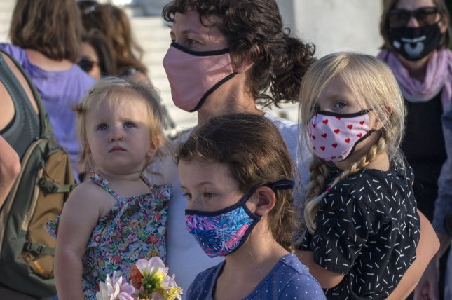 A family is seen wearing face masks to guard against COVID-19 in front of the U.S. Supreme Court building in Washington, D.C., on September 18. Photo by Pat Benic/UPI
