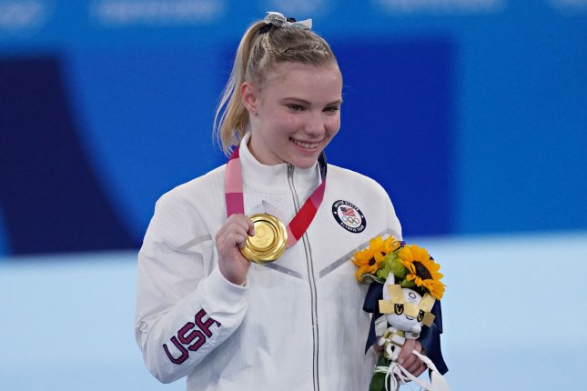 Team USA gymnast Jade Carey poses at the medal ceremony for the floor exercise at the 2020 Summer Games on Monday in Tokyo. Photo by Richard Ellis/UPI