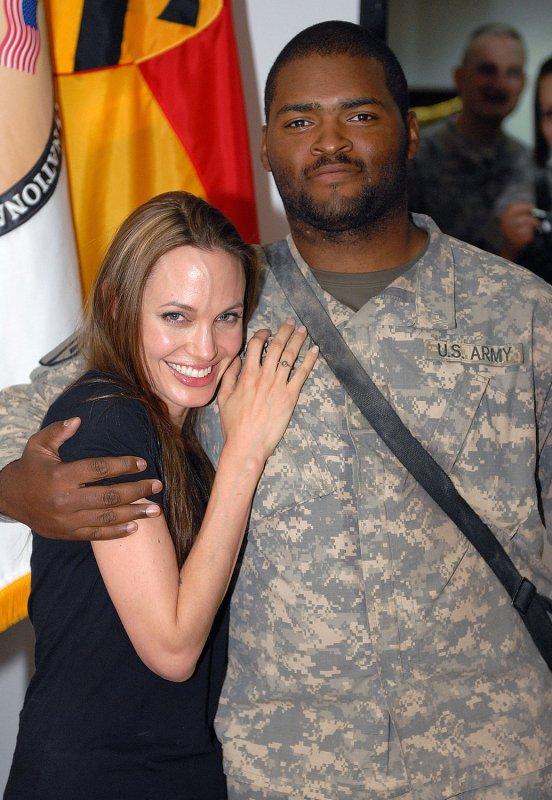 United Nations goodwill ambassador Angelina Jolie (L) visits with Chicago native Pfc. Bryan Ward at Camp Liberty in Baghdad, Iraq on July 23, 2009. (UPI Photo/Phillip Adam Turner/U.S. Military)
