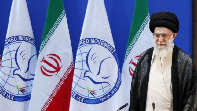 n this photo released by the official website of Iran's supreme leader, Iran's Supreme leader Ayatollah Ali Khamanei attends the opening ceremony of the 16th summit of the Non-Aligned Movement (NAM) in Tehran, Iran on August 30, 2012. UPI/Khamenei.ir/HO