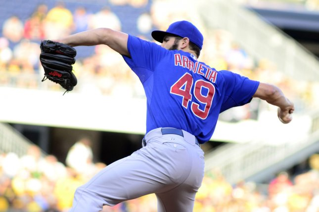 Chicago Cubs starting pitcher Jake Arrieta (49). Photo by Archie Carpenter/UPI