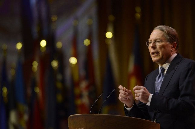 National Rifle Association CEO Wayne LaPierre delivers remarks during the 2014 Conservative Political Action Conference. The NRA announced a $6.5 million ad buy for Donald Trump in five swing states. File photo by Molly Riley/UPI