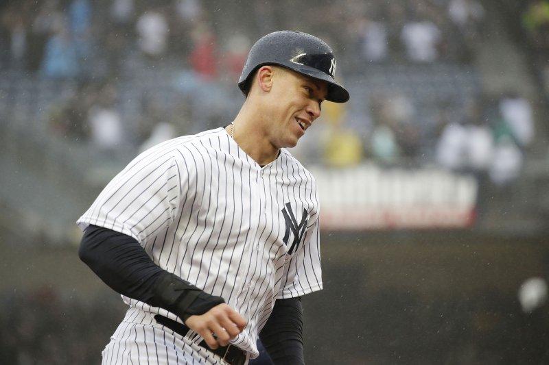 Aaron Judge and the New York Yankees face the Toronto Blue Jays on Sunday. Photo by John Angelillo/UPI