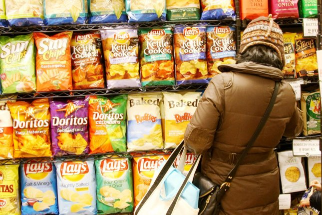 Bags of salty snacks which contain high levels of sodium are sold at the Westside Market on January 11, 2010, in New York City. File Photo by Monika Graff/UPI