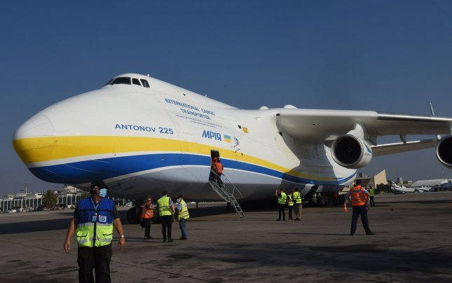 The world's largest aircraft carrier, an Antonov An-225, lands at Ben Gurion Airport, in Lod, near Tel Aviv, on Monday, August 3. The Ukrainian cargo plane is carrying U.S. military Oshkosh trucks to be fitted with the Israeli Iron Dome missile defense systems. Photo by Debbie Hill/UPI