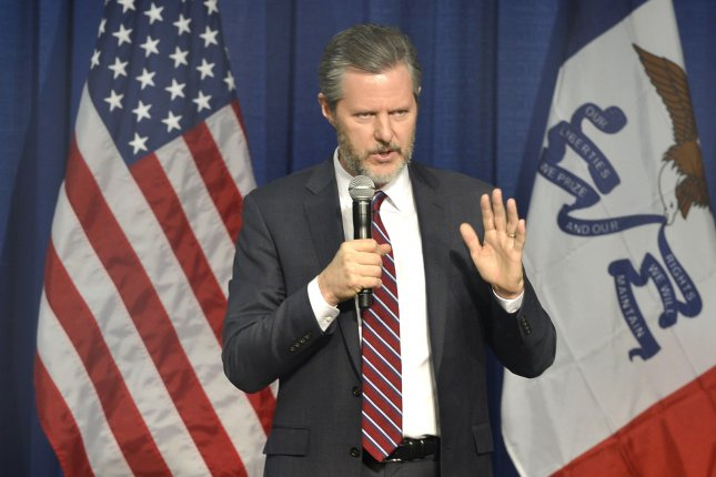 Jerry Falwell Jr. initially agreed to resign earlier Monday but did not, Liberty University said. File Photo by Mike Theiler/UPI