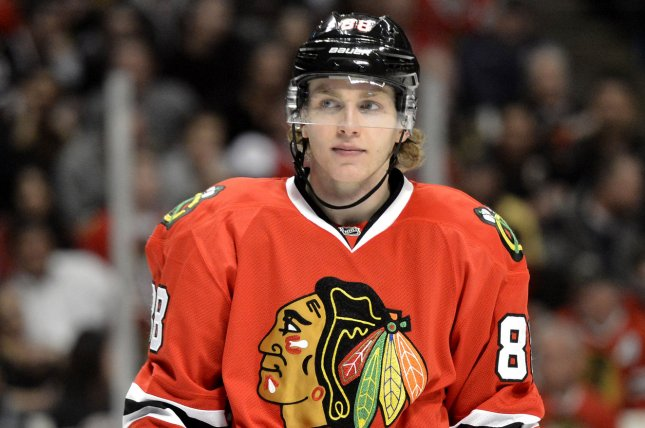 Chicago Blackhawks right wing Patrick Kane. UPI/Brian Kersey