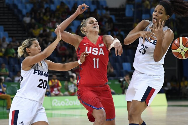 585626adcf7f United States  Elena Delle Donne (C) and France s Amel Bouderra (L) and  Marielle Amant battle for a loose ball during the USA vs France Women s  Basketball ...