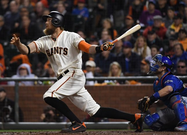 Hunter Pence and the San Francisco Giants rolled past the Philadelphia Phillies on Friday night. Photo by Terry Schmitt/UPI