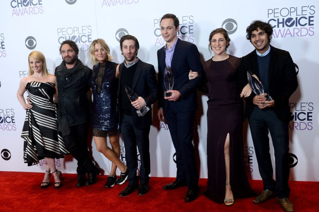 Melissa Rauch, Johnny Galecki, Kaley Cuoco, Simon Helberg, Jim Parsons, Mayim Bialik and Kunal Nayyar (left to right) discussed the impending end of The Big Bang Theory on The Ellen DeGeneres Show. File Photo by Jim Ruymen/UPI