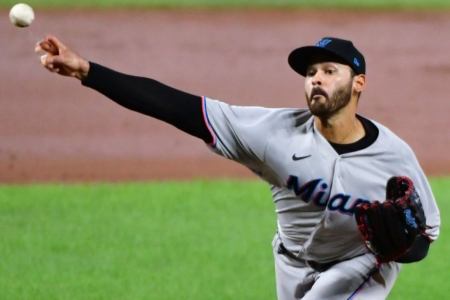 Miami Marlins starting pitcher Pablo Lopez allowed just two hits in five scoreless innings to beat the Baltimore Orioles Tuesday in Baltimore. Photo by David Tulis/UPI