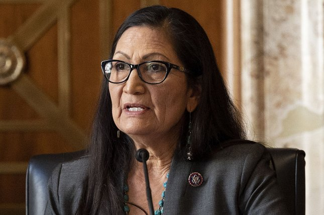 Rep. Deb Haaland, D-New Mexico, speaks Tuesday during her confirmation hearing before the Senate Committee on Energy and Natural Resources on Capitol Hill in Washington, D.C. Photo by Jim Watson/UPI/Pool